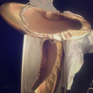 Size 11 Jcrew gold leather ballet flats